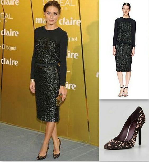 Naomi sequin top and skirt, stuart weitzman shoes