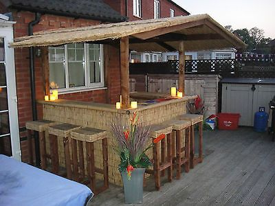 Details about outdoor bar/ home bar/ thatched roofed tiki bar ...