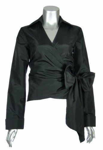 Sutton Studio Womens Taffeta V-neck Wrap Blouse Plus 14W Black ...