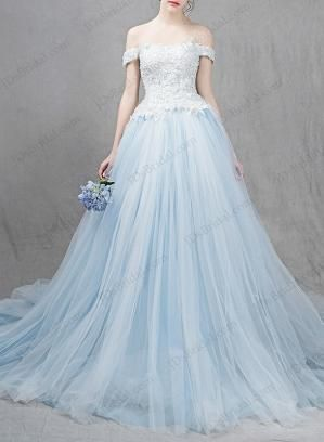 Ocean light blue colored princess ball gown wedding dress for Ocean blue wedding dress