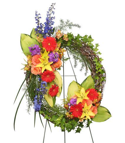 grapevine wreath flower arrangements   ... SYMPATHY WREATH Funeral Flowers   Sympathy   Flower Shop Network