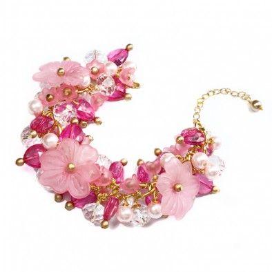 Luscious Paradise - pink floral charm bracelet