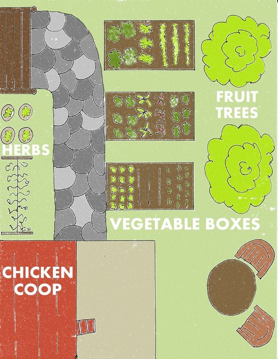 4 Backyard Farms designs for Self-Sufficiency. Great for figuring out how to fit it all in efficiently!