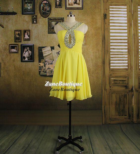 Beads Straps Short Prom Dress, A Line Knee Length Chiffon Prom Dress, Daffodil Yellow Buttercup Chiffon Prom Dress Cocktail Dress