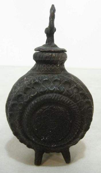 shopgoodwill.com: Black Cast Metal Footed Bottle with Bird Finial