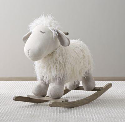 wooly plush rocking animal baby nursery cool bee animal rocking horse