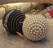 Round crystal elegant lady's wedding party evening clutch bag