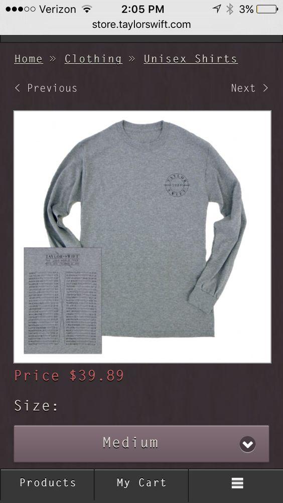 Taylor swift 1989 tour t shirt