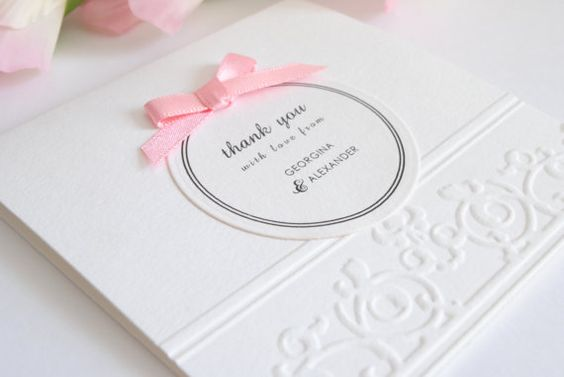 Wedding Thank You Card - Floral Scallop Tent Fold
