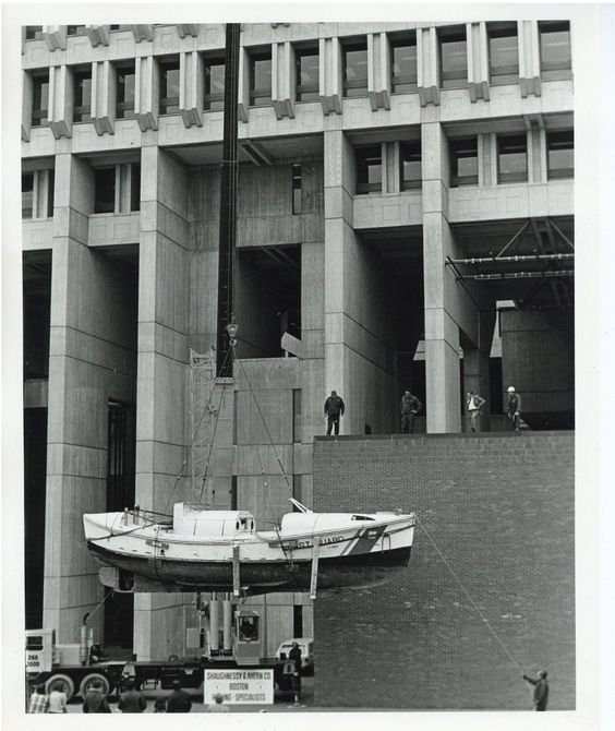 """Perhaps one of the most unusual situations ever for a USCG 36-footer - this vessel is being hoisted into a """"play center"""" (activity center for children) at Boston City Hall in April 1975.  The boat was lifted into City Hall by Shauhnessy & Ahern Co. of Boston http://shaughnessyandahernco.com/ a company that has been moving and lifting heavy objects since 1916.  (Photo courtesy of the Boston (MA) City Archives)"""