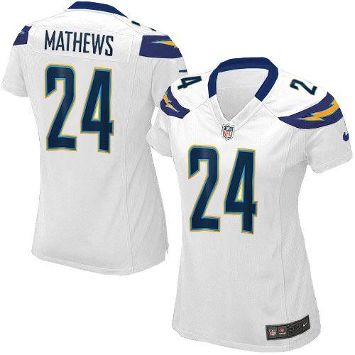 Womens Nike San Diego Chargers #24 Ryan Mathews Elite White Jersey$109.99