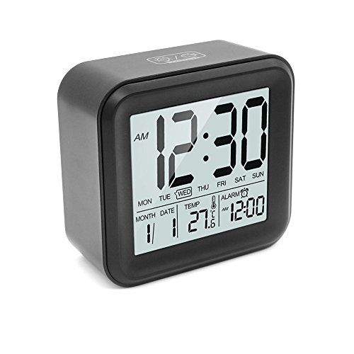 Heqiao Slim Digital Clock Large Lcd Travel Alarm Clock With Calendar Battery Operated For Home Office Temperature Display Snooze Function Black Alarm Clock Travel Alarm Clock Clock