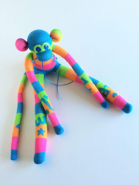 Sock Monkey-MLP-My Little Pony-Themed-Handmade-Monkey-Pink, Blue, Green, Orange-Plush-Plushie, Stuffed, Stuffed Animal by…
