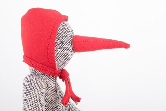 Modern toy eco Bird Doll - Gray bird, duck, penguin made from Woven silk Wearing red corduroy  and Hood hat - handmade.