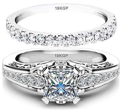 Fashion Women 18K Gold Plated Princess Cut Sapphire Ring Wedding Bridal Proposal