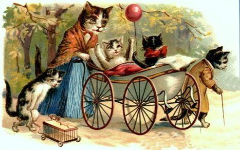 Resultados da Pesquisa de imagens do Google para http://vintageholidaycrafts.com/wp-content/uploads/2009/01/vintage-cat-art-mother-cat-with-kittens-dressed-with-baby-carriage.jpg