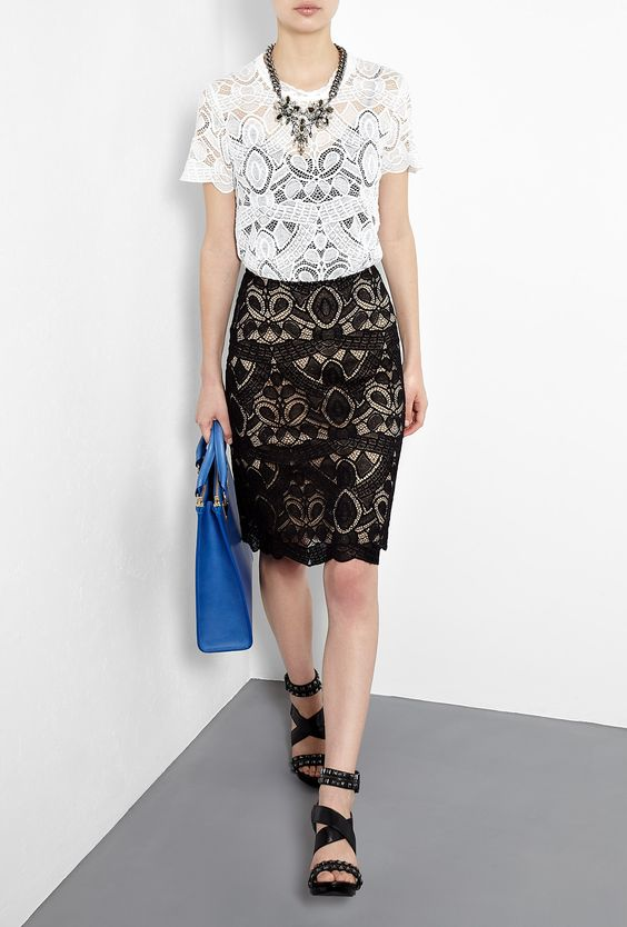 Capped Sleeve Lace Top by L'Agence