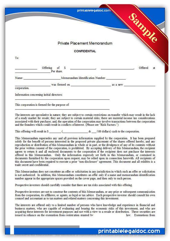 Free Printable Private Placement Memorandum Legal Forms  Free