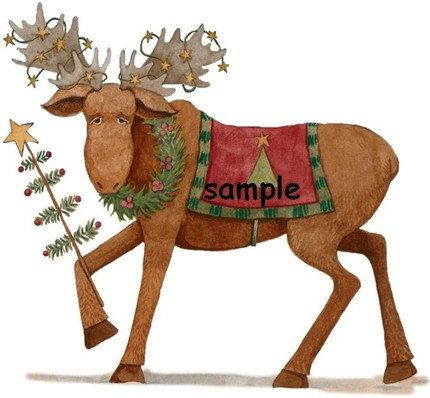 christmas Moose with Tree Custom Personalized Address Labels