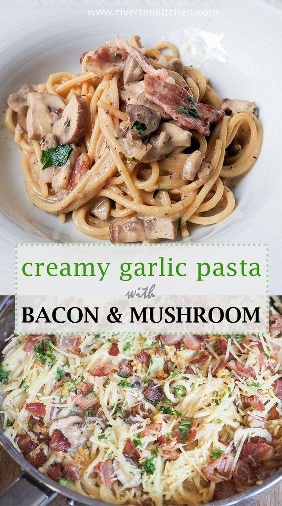 Creamy Garlic Pasta with Bacon and Mushroom