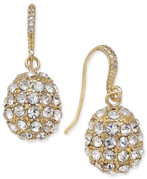 Charter Club Gold-Tone Pave Cluster Drop Earrings, Only at Macy's