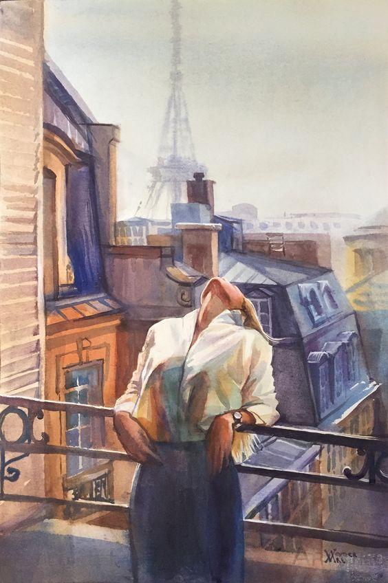 Art of the parisian landscape, Paris centre illustration #paris #parisart #watercolorparis