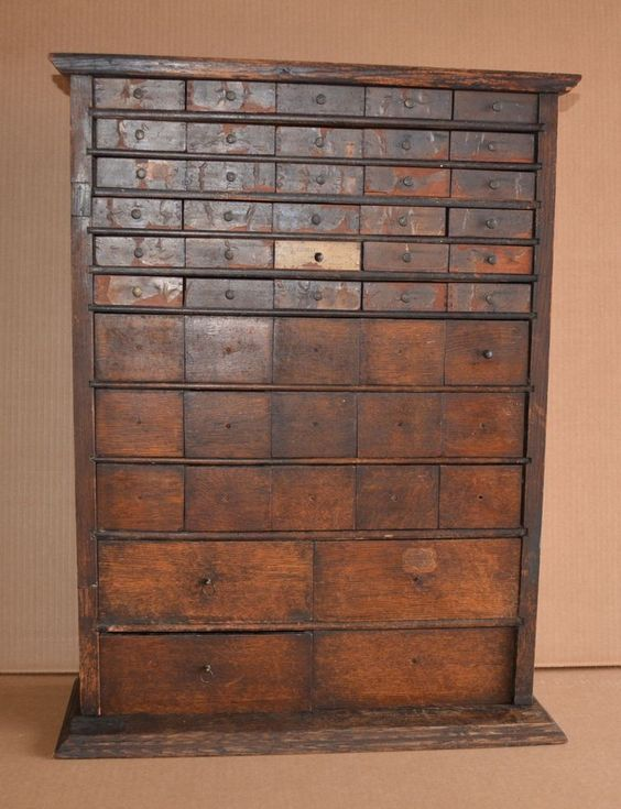 antique oak watchmaker cabinet 49 drawer slide top seed spice box country store antique furniture apothecary general store