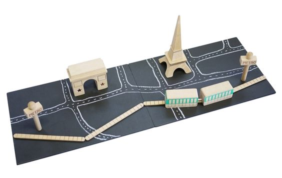 Awesome: Wooden Paris toy with a chalkboard base and magnetic beechwood play pieces.: