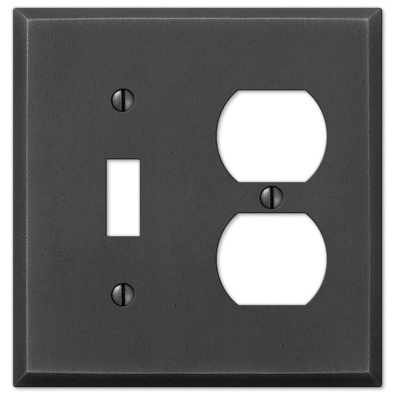 Manhattan Gunmetal Cast - 1 Toggle / 1 Duplex Outlet Wallplate