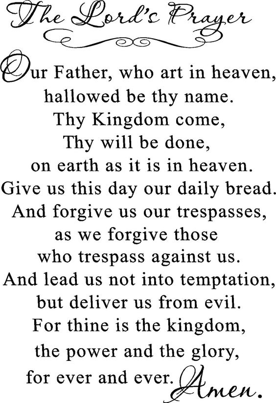 The Lord's Prayer - The full version. I also feel so empty when I visit a different church that cuts it short....: