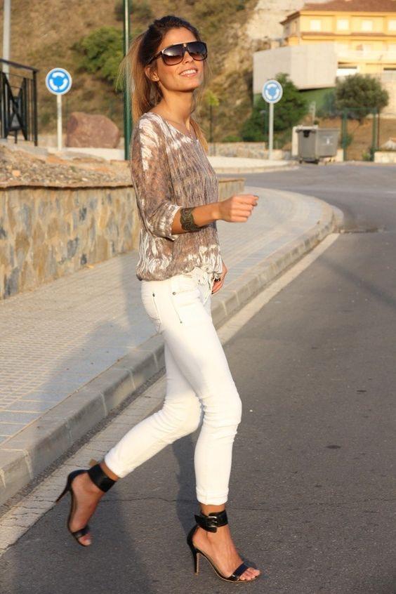 Alessandra Ambrosio ~ White Cuffed Jeans &amp Bleach Accent Top W