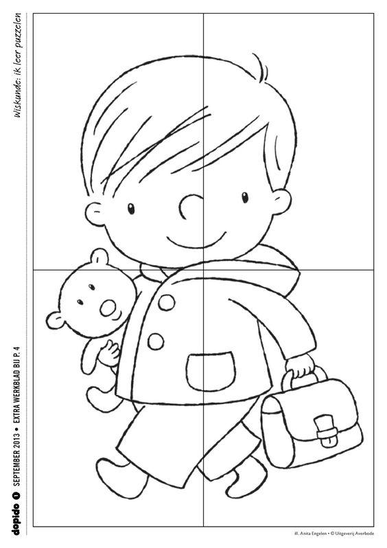 Peuterthema's: Terug naar school: puzzel