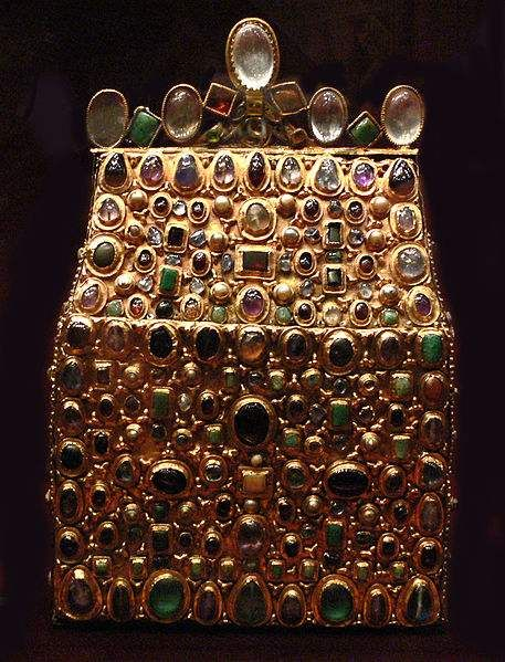 St. Stephan's Purse, also Stephansburse, is part of the Crown Jewels of the Holy Roman Empire. It is a reliquary in the form of a pilgrim's bag that contains earth from Jerusalem, which is soaked with the blood of St. Stephen.