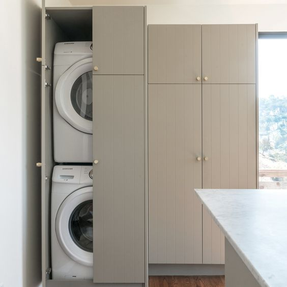 Ikea Cabinet Storage With Semihandmade Fronts Laundry Room