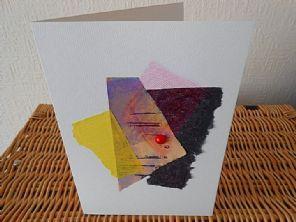 Tribal Red Dot - Handmade Greeting Card - Mixed Materials - Original Fine Art…