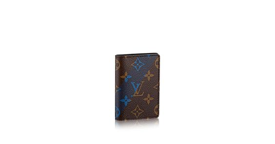Discover Louis Vuitton Pocket Organiser: Fashioned in a modern, masculine version of the Monogram canvas that features a printed blue V, the Pocket Organiser evokes this season's ready-to-wear collection. It combines style and practicality, offering multiple pockets and space for credit cards and bills within a compact, lightweight design.