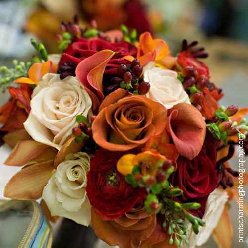An autumn bouquet of blush sahara roses mango calla - Flowers for wedding in october a colorful autumn ...