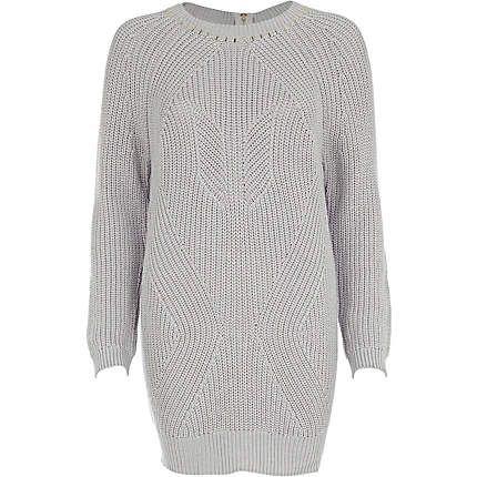 Grey geometric rib studded jumper dress
