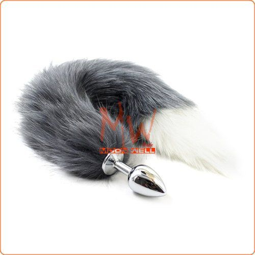 Fox Tail Metal Anal Plug - Gray & White Tail