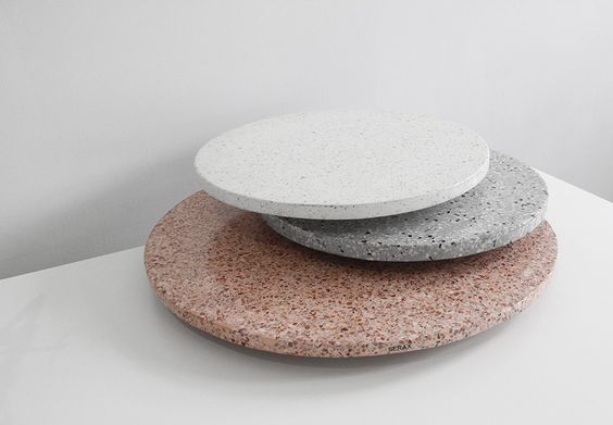 minimalist terrazzo platters