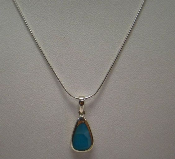 """925 STERLING SILVER NECKLACE .90"""" PENDANT WITH 18"""" CHAIN BLUE LARIMAR STONE #Pendant"""