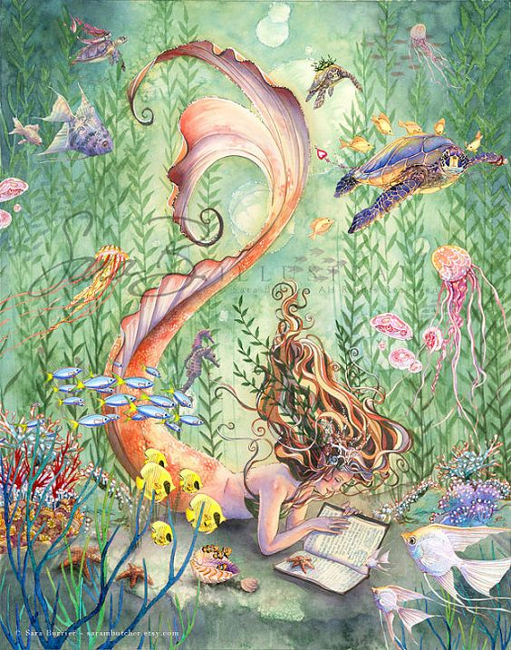Sirène Art Print Sealife Golden Mermaid Orange par sarambutcher