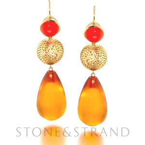 Amber Drop Earrings by Ray Griffiths, available exclusively at www.stoneandstrand.com