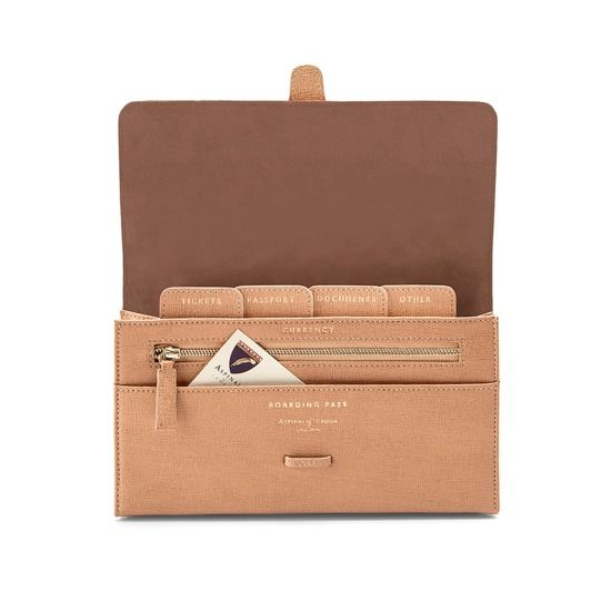 Classic Travel Wallet in Deer Saffiano from Aspinal of London