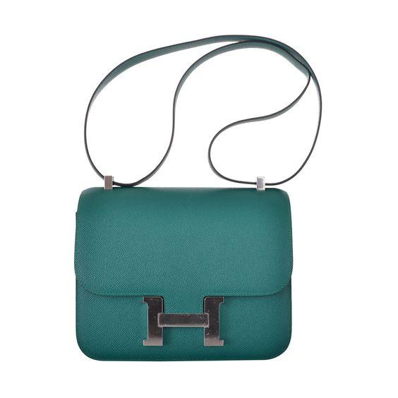 birkin bag.com - HERMES CONSTANCE BAG 24cm DOUBLE GUSSET MALACHITE EPSOM LEATHER ...