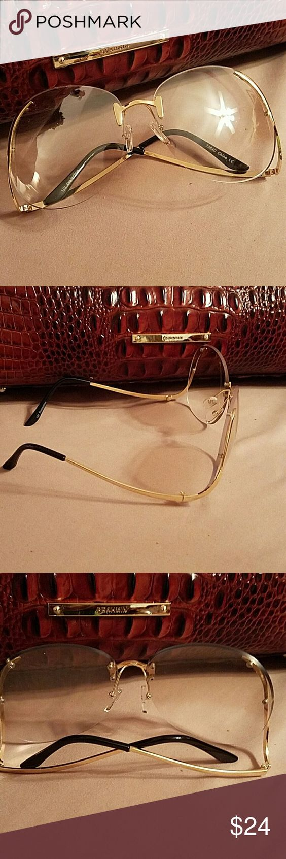 Large Vintage Glasses NEW! Trendy...Large Vintage Glasses with gold trim. Very slight tint to these shades. Make a statement! Accessories Glasses