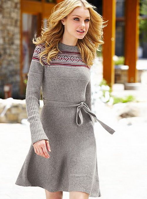 Vestidos Para Inverno  For women Grey and Long sweaters