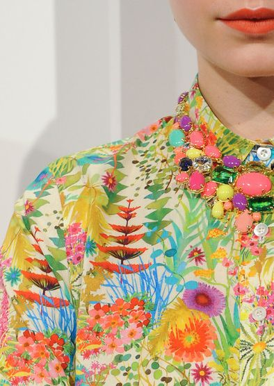 "Pretty Prints #shirt #colour #floral...crowded pattern and vivid colour of the print is striking. Embellishment could almost ""grow"" from a print like this."