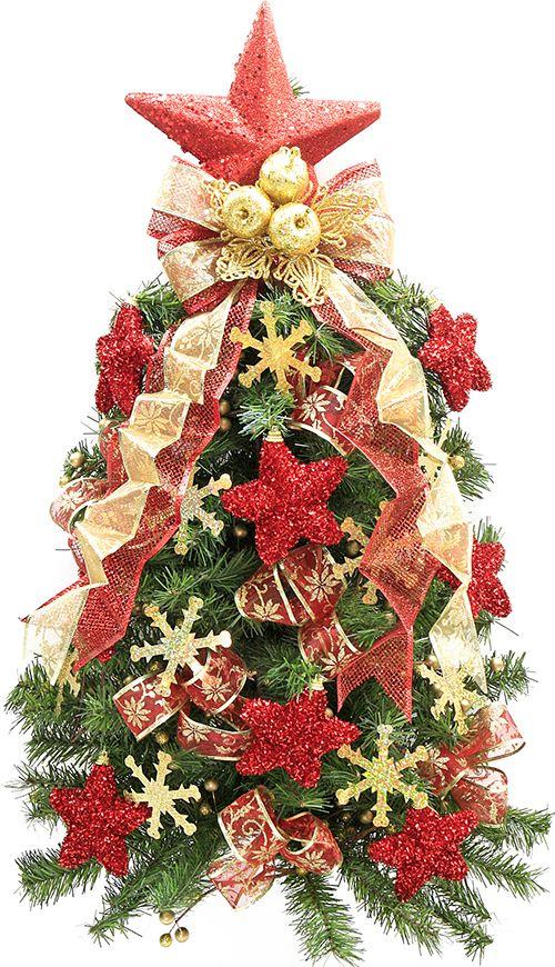 Mini pino navide o rojo y dorado rbol de navidad - Arbol de navidad dorado ...