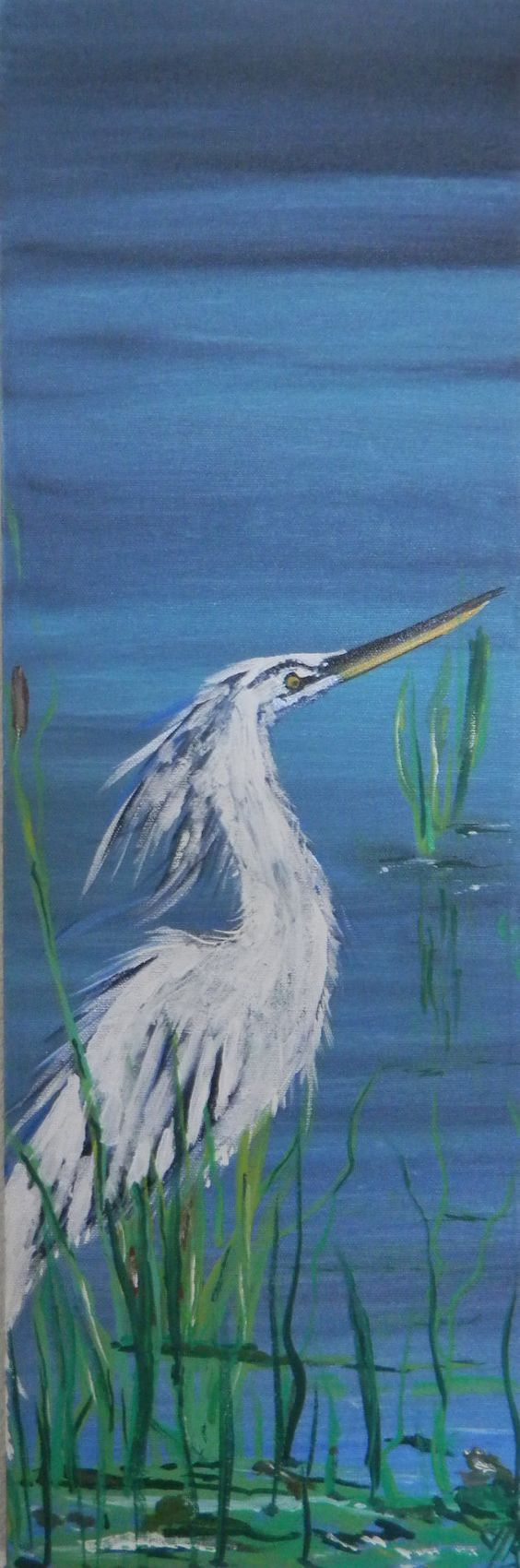 """Blue Heron Acrylic Painting 8 x 24 Canvas Nature by Codysquilts $75.00 Get 10% OFF with Coupon """"TAKE10"""""""